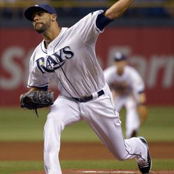 Tampa Bay Rays starting pitcher David Price throws to home plate during the first inning of a baseball game against the New York Yankees in St. Petersburg, Fla., Saturday, April 7, 2012.