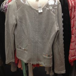 BNY sweater jacket with sequin detail, $99