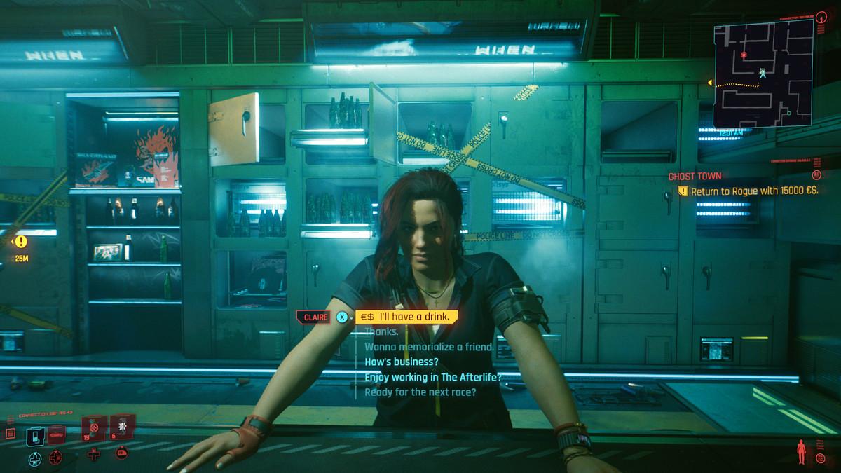 Talking to a bartender in Cyberpunk 2077