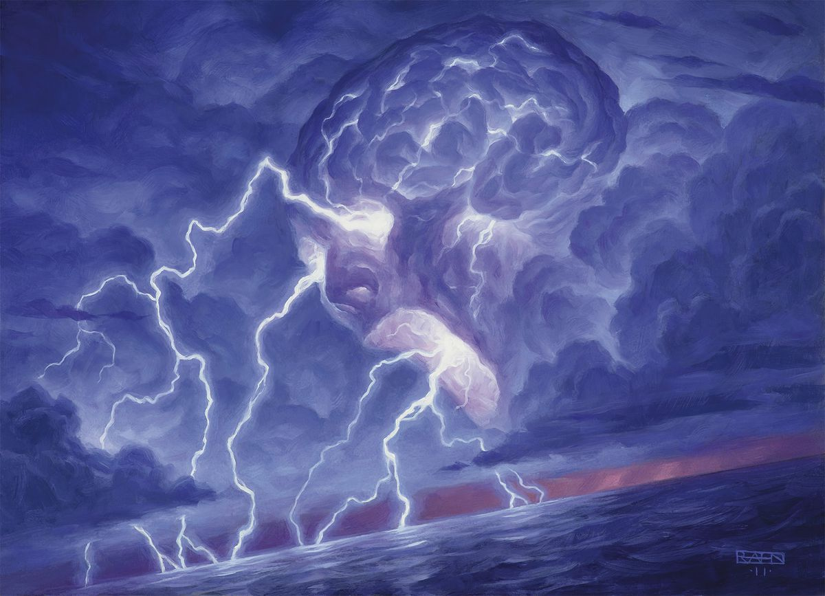 A brain-shaped cloud lets loose with a furious fusilade of lightning.
