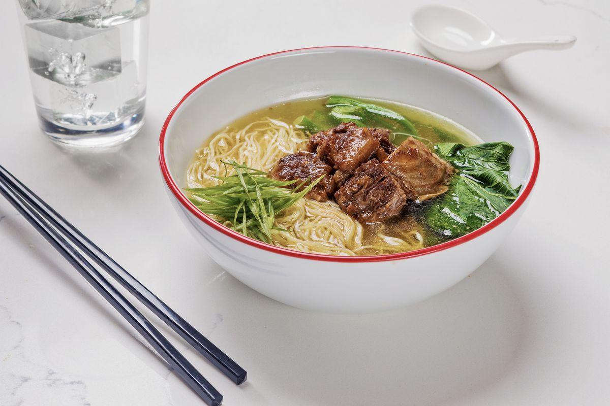 Beef brisket noodle soup at Strat Cafe & Wok