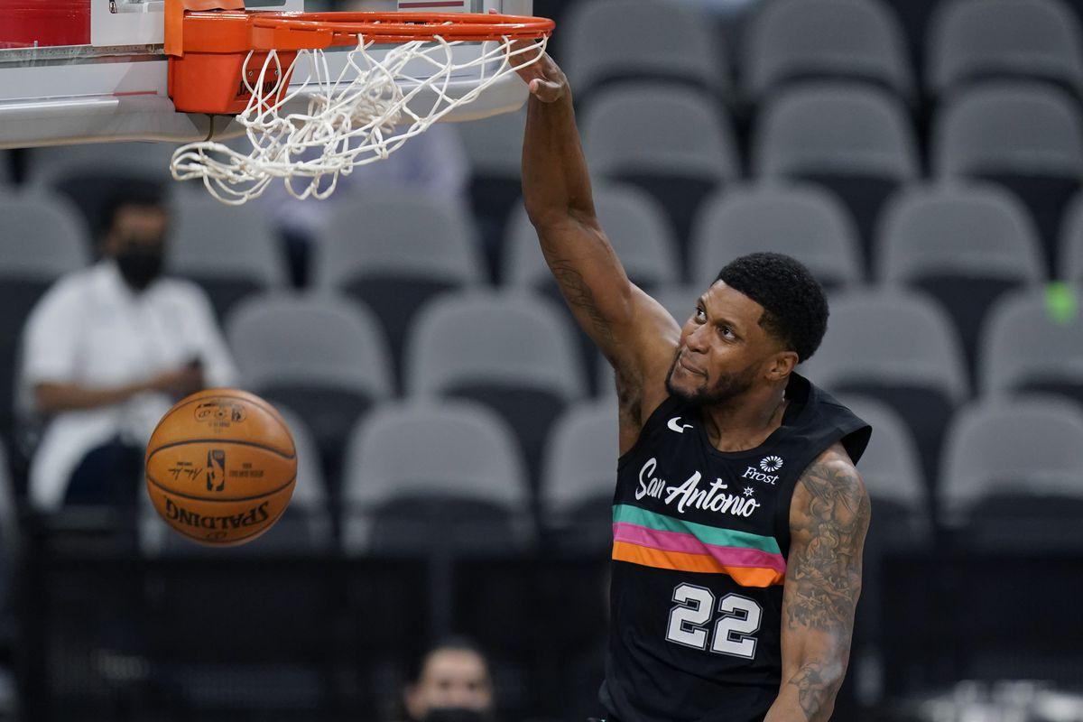 San Antonio Spurs forward Rudy Gay scores against the Orlando Magic during game in San Antonio, Friday, March 12, 2021.