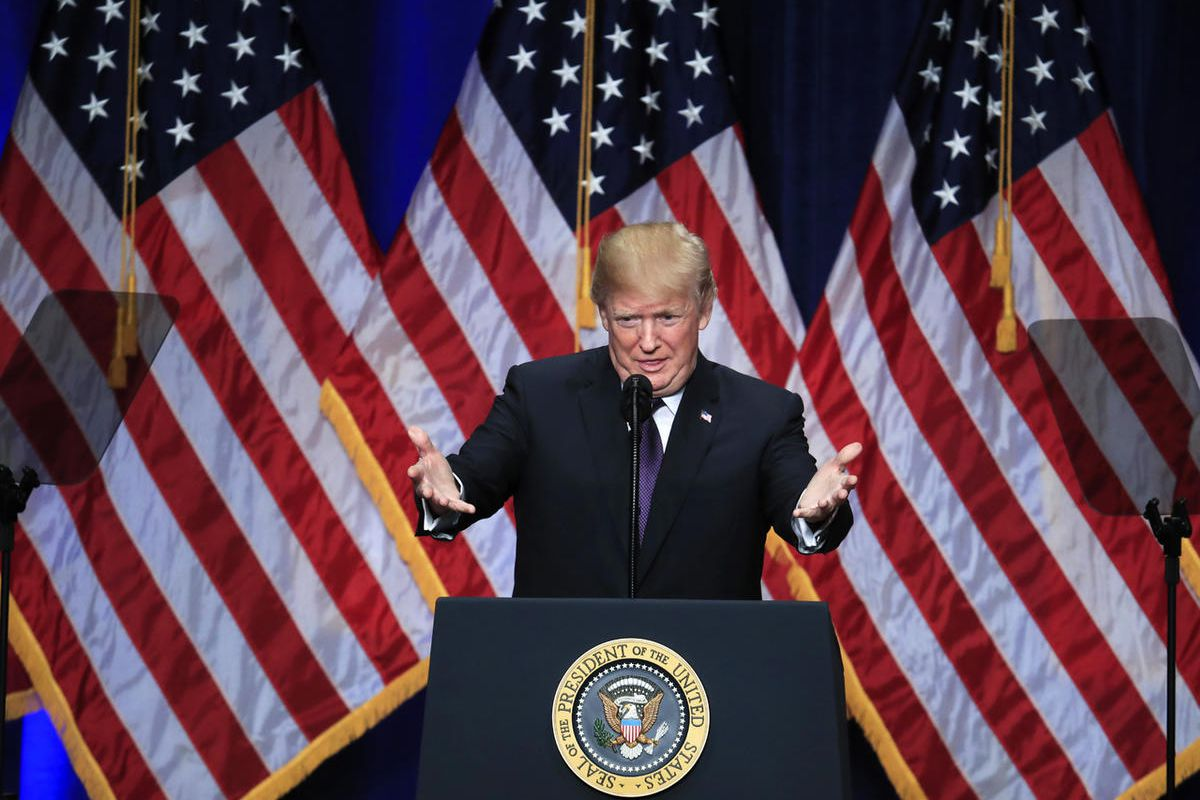 President Donald Trump speaks and lays out a national security strategy that envisions nations in perpetual competition, reverses Obama-era warnings on climate change, and de-emphasizes multinational agreements, in Washington, Monday, Dec. 18, 2017.