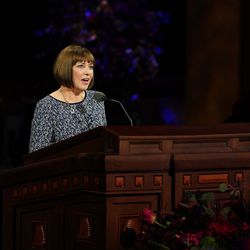 Sister Cristina B. Franco, second counselor in the Primary general presidency, speaks during the women's session of the 190th Semiannual General Conference of The Church of Jesus Christ of Latter-day Saints on Saturday, Oct. 3, 2020.