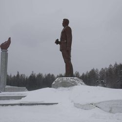 In this Tuesday, April 3, 2012 photo, a bronze monument of the late North Koran leader Kim Il Sung stands at the Samjiyon Grand Monument area in Samjiyon, North Korea at the base of Mount Paektu. The story of Mount Paektu is the story of how one man managed to build an entire national culture and history around his own carefully crafted story, deliberately drawing on the methods and symbols of religion.