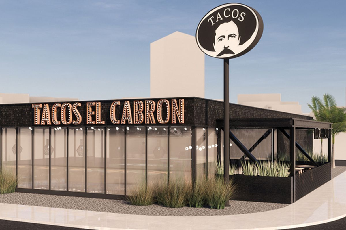 A rendering by the Jules Wilson Design Studio of the forthcoming Tacos El Cabron restaurant headed to Maryland Parkway.