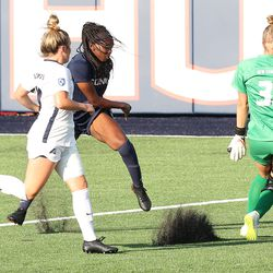 UConn's Jada Konte #7 during the New Hampshire Wildcats vs the UConn Huskies exhibition women's college soccer game at Morrone Stadium at Rizza Performance Center in Storrs, CT, on Saturday August 14, 2021.