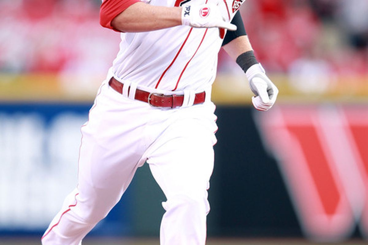 CINCINNATI, OH - APRIL 05:  Zack Cozart #2 of the Cincinnati Reds runs the bases during the game against the Miami Marlins on Opening Day at Great American Ball Park on April 5, 2012 in Cincinnati, Ohio.  (Photo by Andy Lyons/Getty Images)