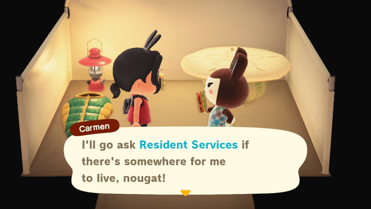 Carmen talks about moving in in Animal Crossing. She's in a tent and holding a sandwich.