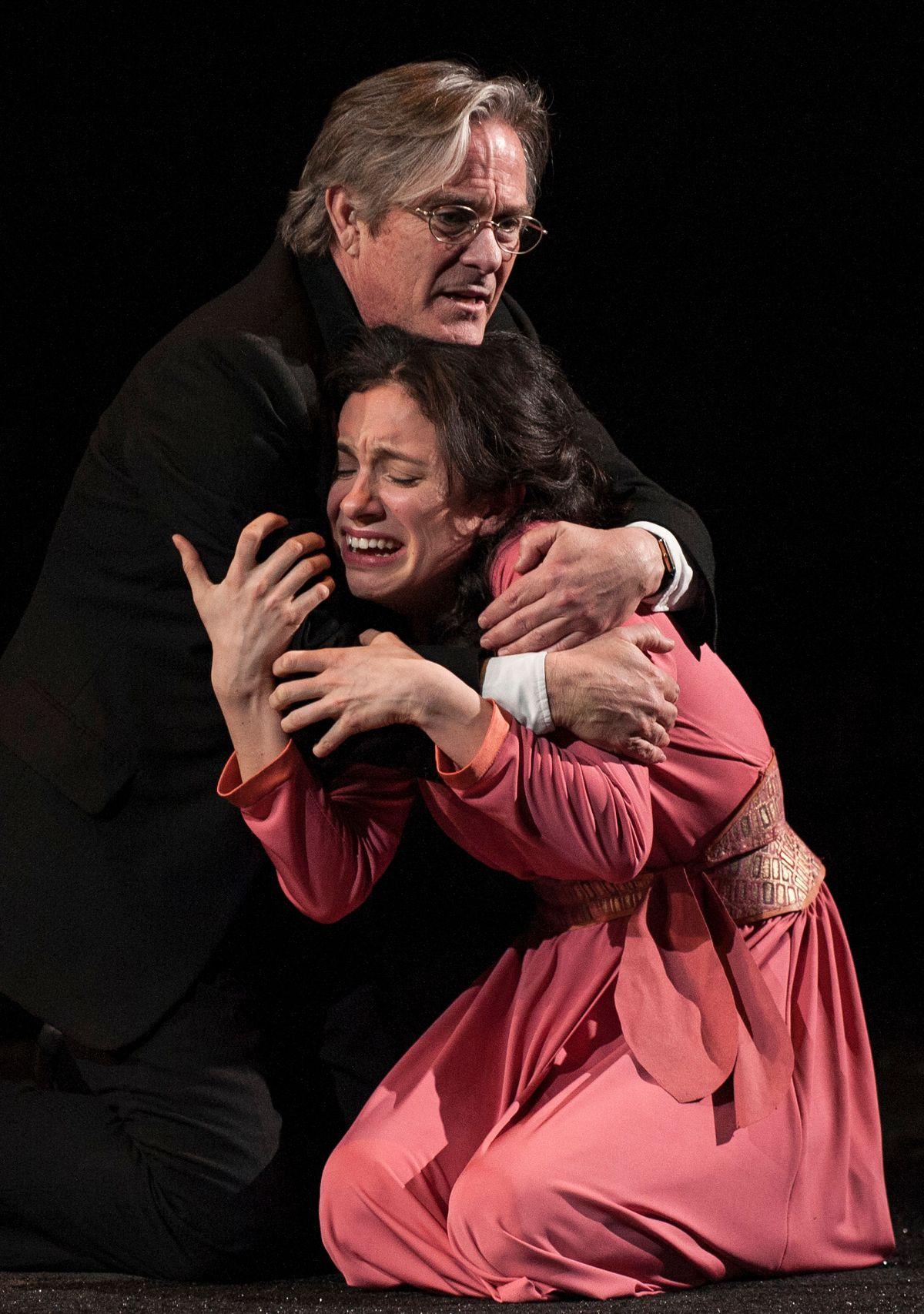 """James Newcomb (as the Duke) and Alejandra Escalante (as (Isabella) in Goodman Theatre's 2013 production of """"Measure for Measure,"""" directed by Robert Falls. 