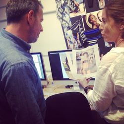 Vitamin A designer Amahlia Stevens reviewing the direction of the shoot with fashion photographer Diego Uchitel.