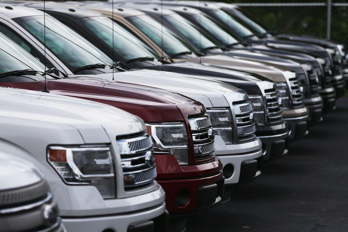 Pick-up trucks at a Ford AutoNation car dealership
