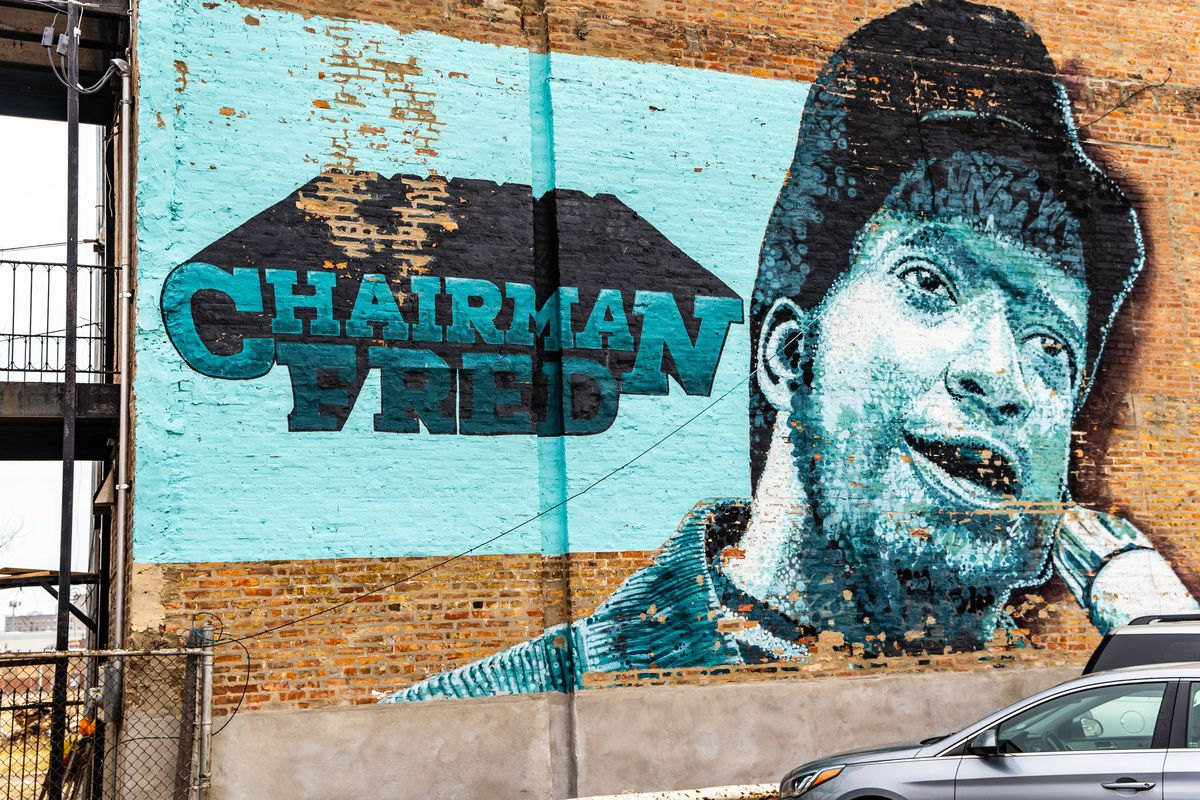 A 2010 mural of Fred Hampton that was painted over with a new painting remembering the slain Black Panthers leader.