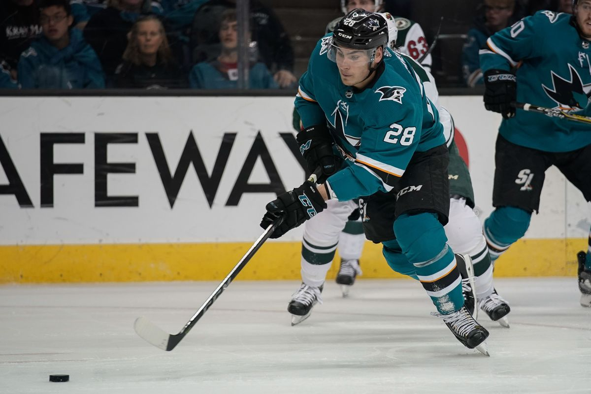 Apr 7, 2018; San Jose, CA, USA; San Jose Sharks right wing Timo Meier (28) controls the puck against the Minnesota Wild during the second period at SAP Center at San Jose.