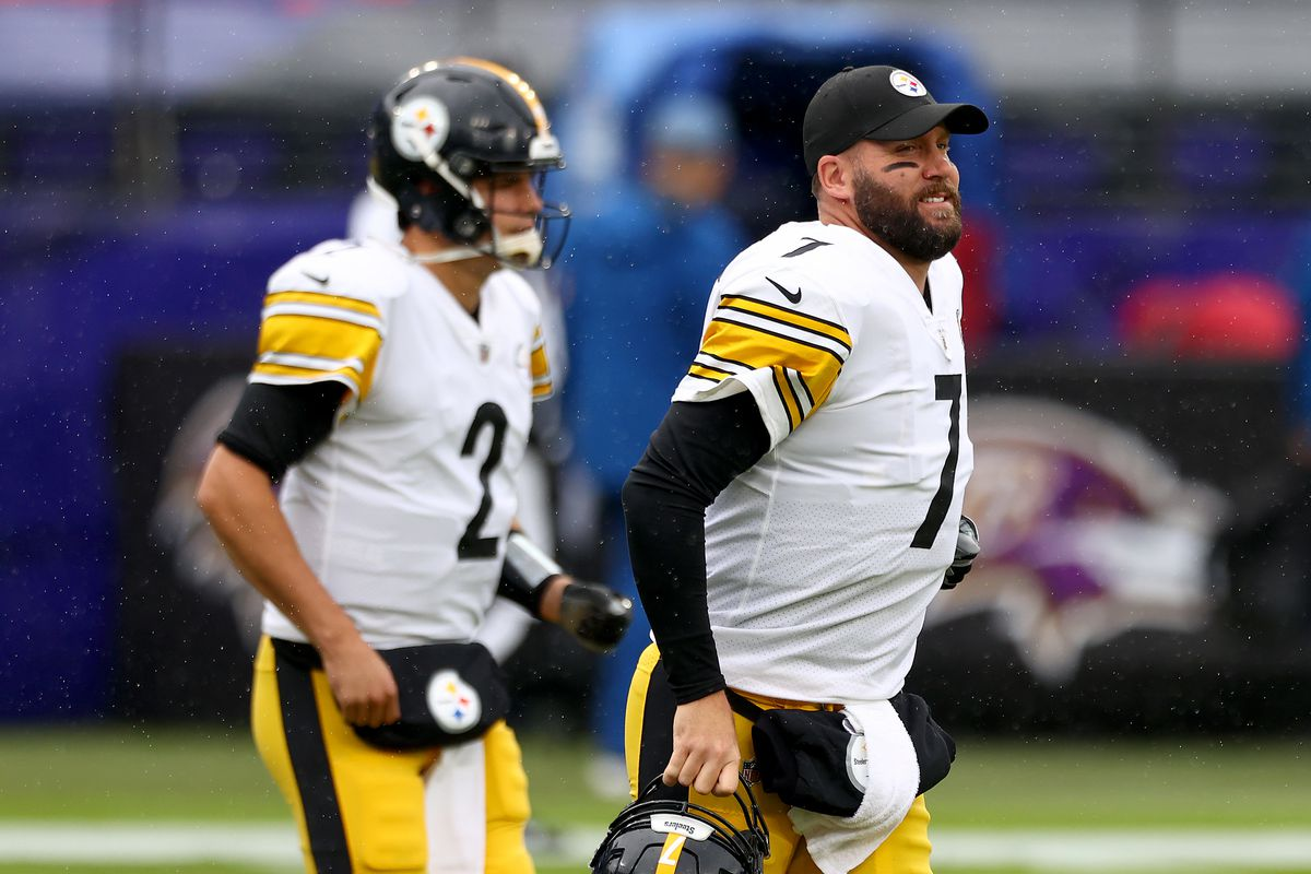 Quarterbacks Ben Roethlisberger #7 and Mason Rudolph #2 of the Pittsburgh Steelers warm up before the start of their game against the Baltimore Ravens at M&T Bank Stadium on November 01, 2020 in Baltimore, Maryland.