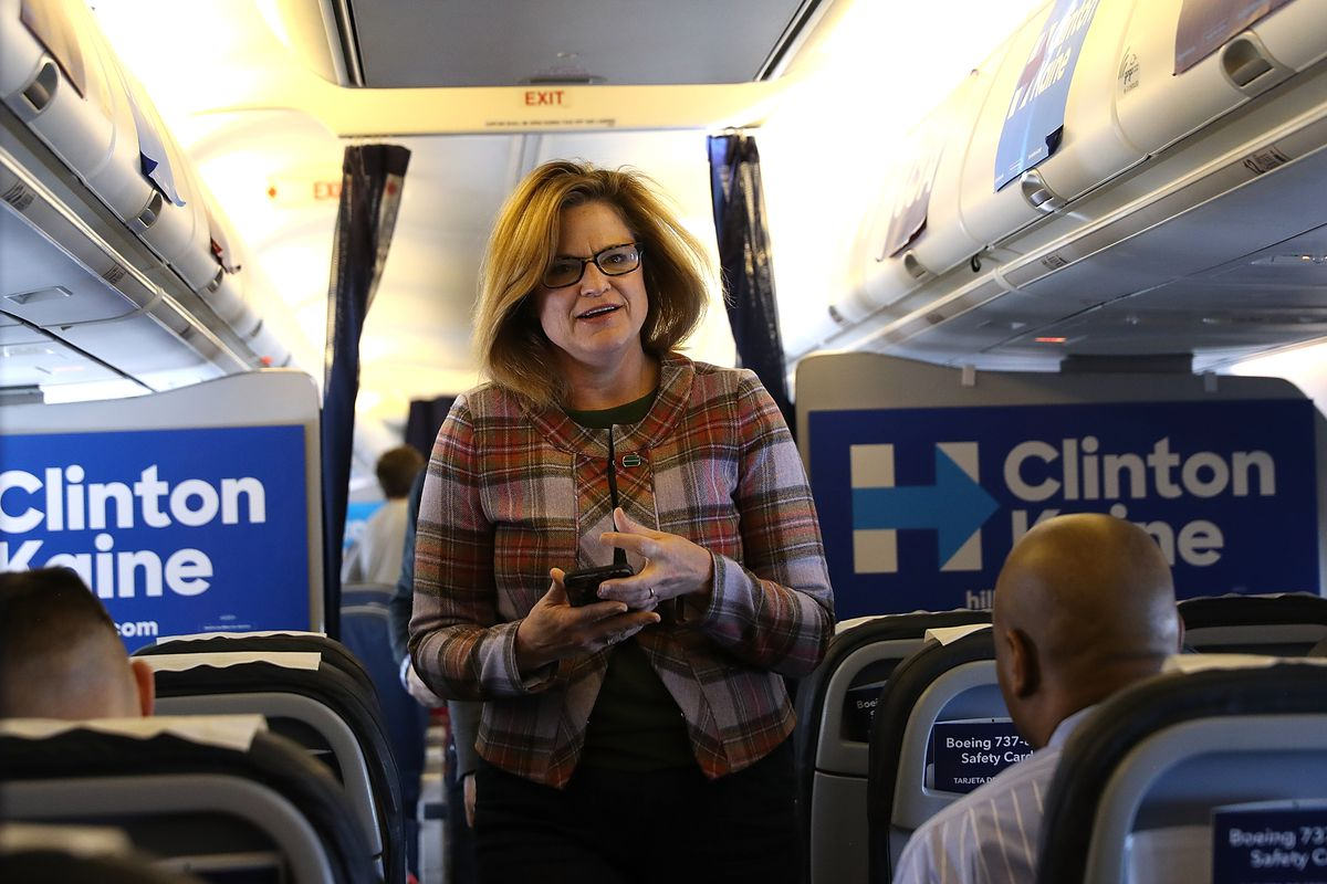 Jennifer Palmieri, communications director for the Hillary Clinton campaign, aboard the campaign plane