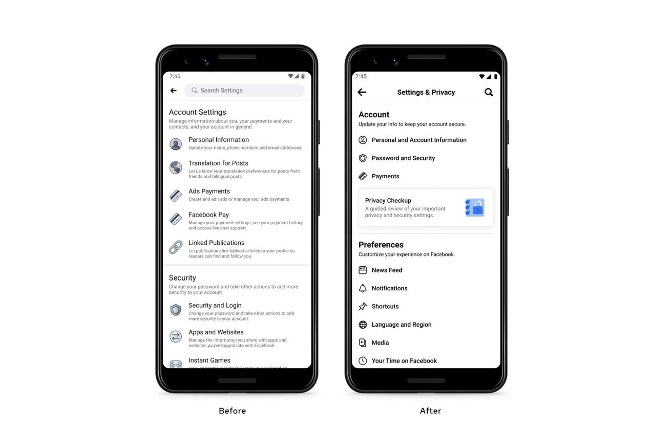 Facebook streamlines the settings page on mobile
