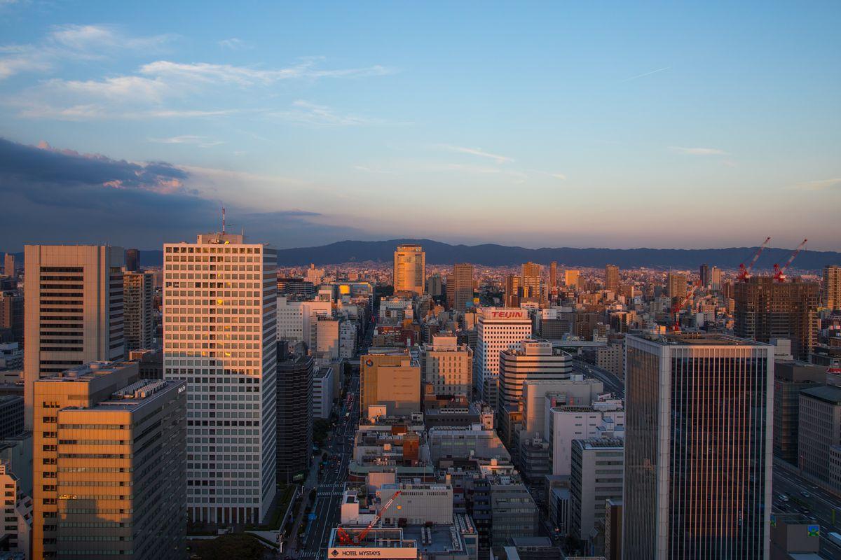 Cityscape at sunset, Kansai region, Osaka, Japan...