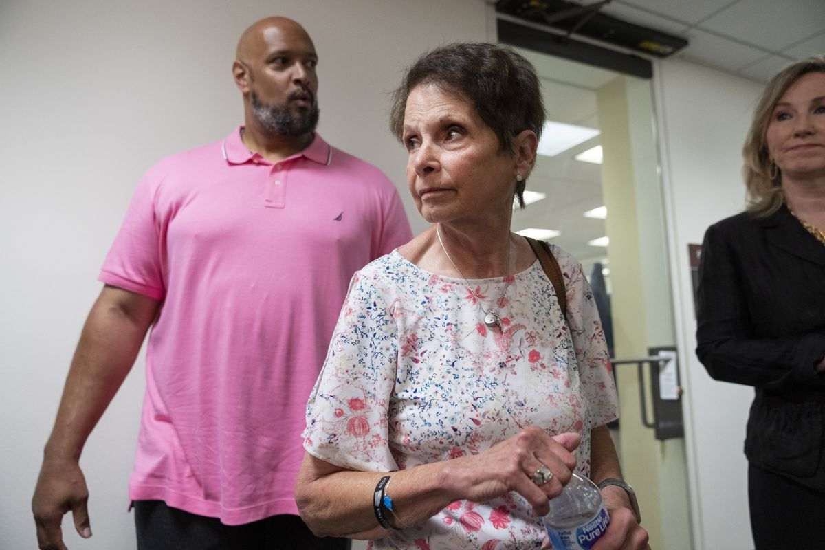 Capitol Police Officer Harry Dunn and Gladys Sicknick, the mother of late Capitol Police Officer Brian Sicknick, arrive for a meeting with Sen. Ron Johnson (R-WI) to urge for a January 6 commission on May 27, 2021 in Washington, DC.