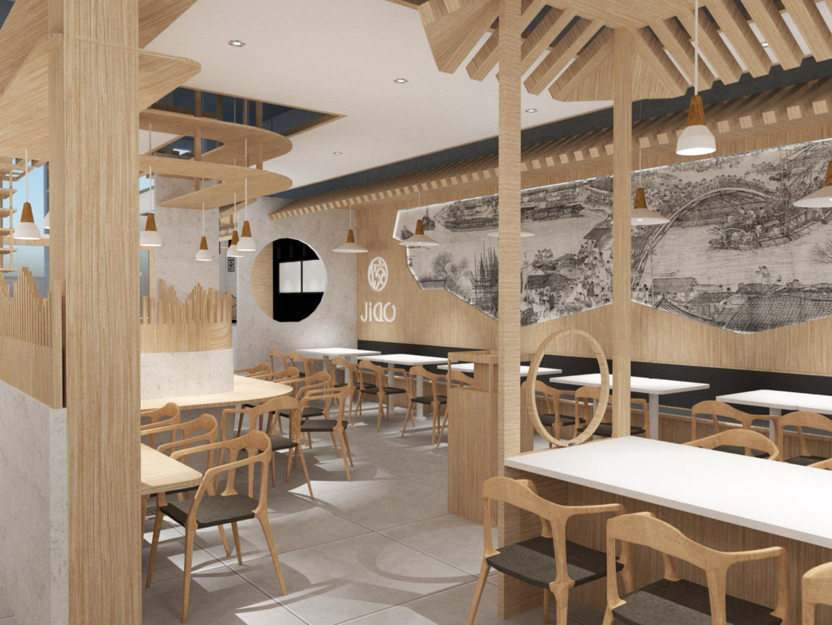 A computer rendering of a Chinese restaurant with lots of light woods, chairs.
