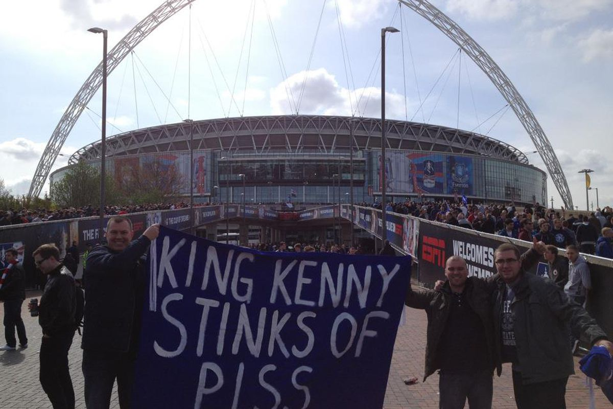 Me and some of the lads on Wembley Way before the FA Cup Semi Final v Liverpool. Best banner at Wembley by a mile, and also an absolute fact!