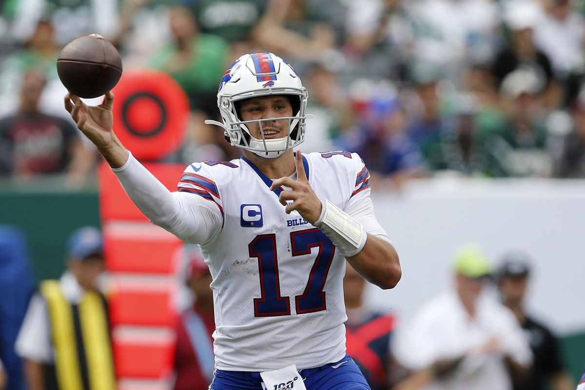 Josh Allen of the Buffalo Bills in action against the New York Jets at MetLife Stadium on September 08, 2019 in East Rutherford, New Jersey.
