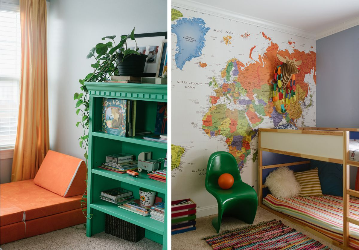 A colorful corner of the home with an orange chaise and a teal green bookshelf; The boys room has a map on the wall and bunk beds.