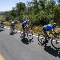 The peloton begins the climb up Empire Pass during Stage 6 of the Tour of Utah in Wasatch Mountain State Park on Sunday, Aug. 18, 2019.