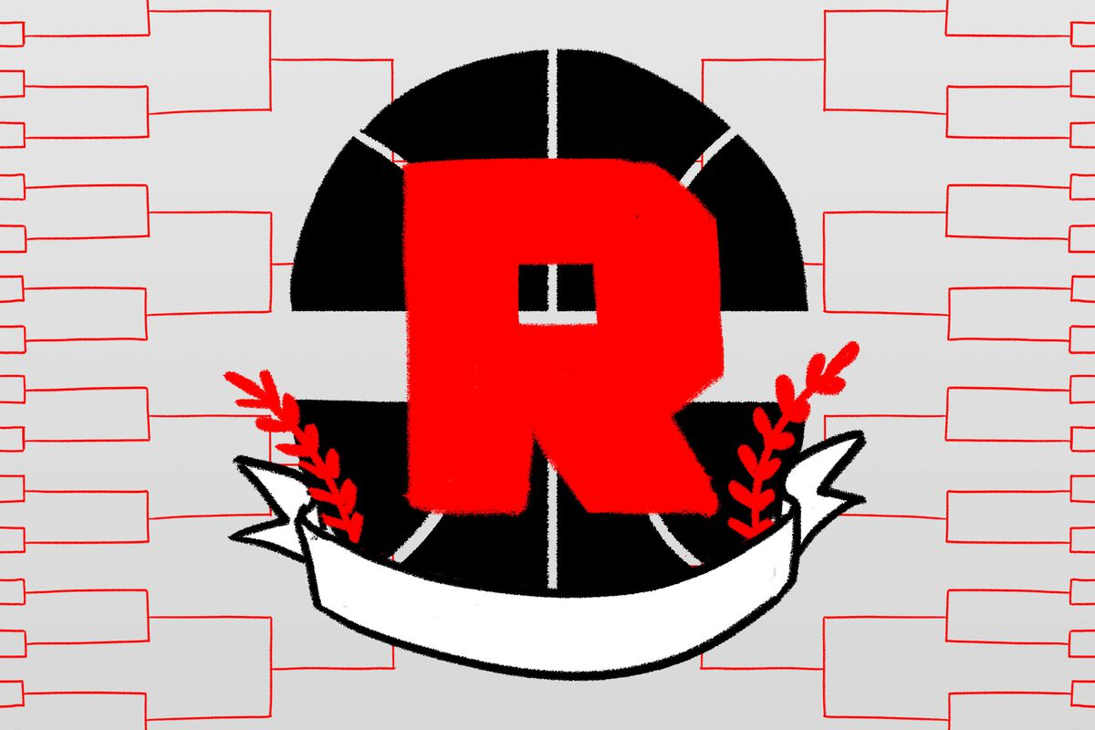 An empty March Madness bracket with a basketball and a red Ringer logo in the middle