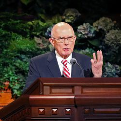 Elder Dallin H. Oaks speaks at the morning session of the 183rd Semiannual General Conference of the Church of Jesus Christ of Latter-day Saints Sunday, Oct. 6, 2013, in Salt Lake City.
