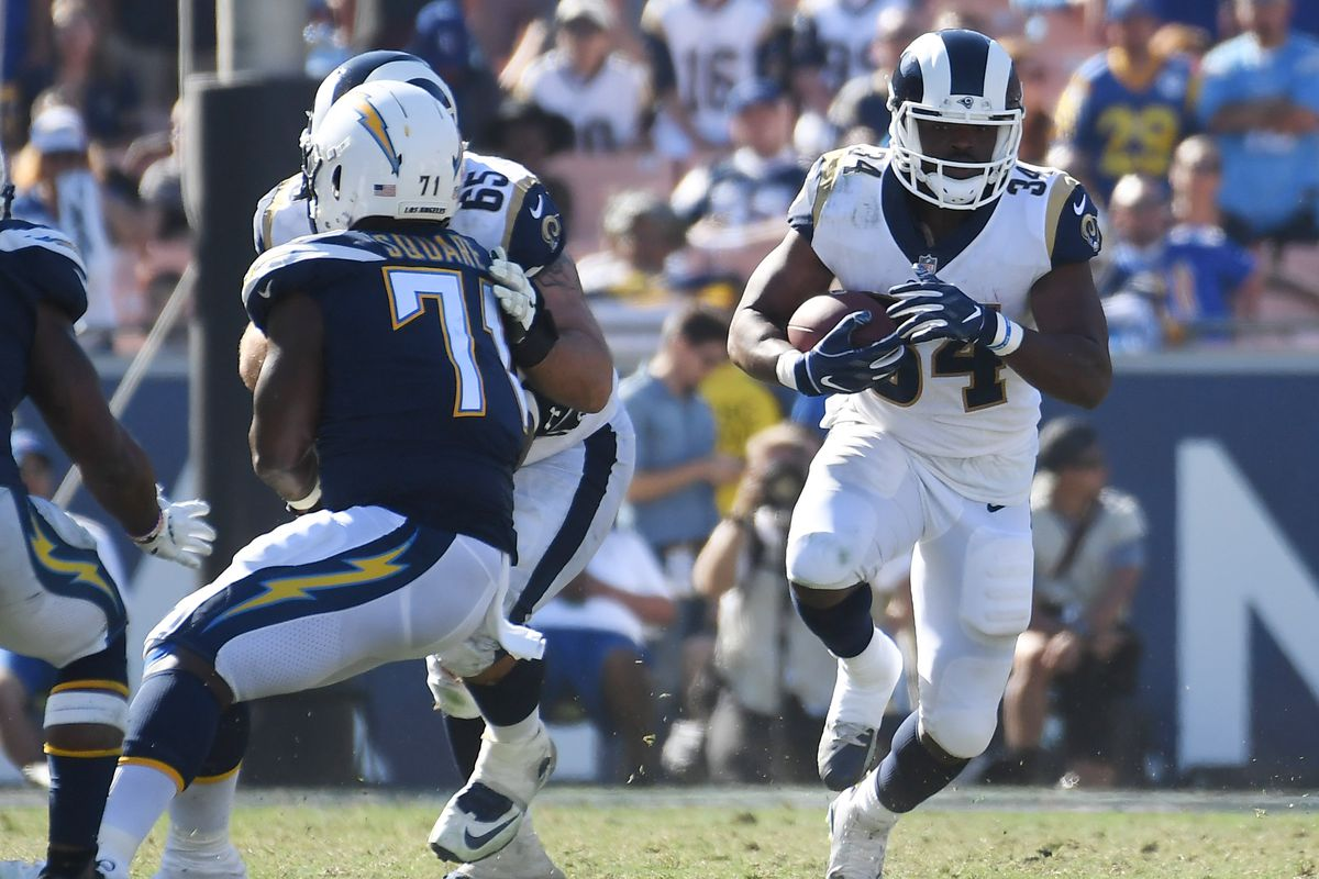 Los Angeles Rams RB Malcolm Brown runs the ball against the Los Angeles Chargers in Week 3, Sep. 23, 2018.