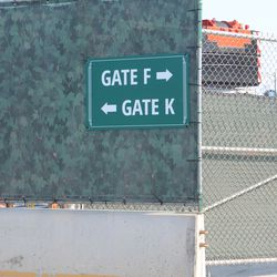 4:29 p.m. Gate sign directions at Waveland & Clark -