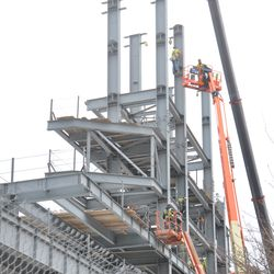 Girder being lowered into the left field jumbotron structure -