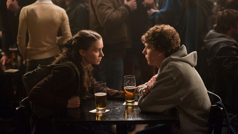 Rooney Mara and Jesse Eisenberg at a bar in The Social Network.