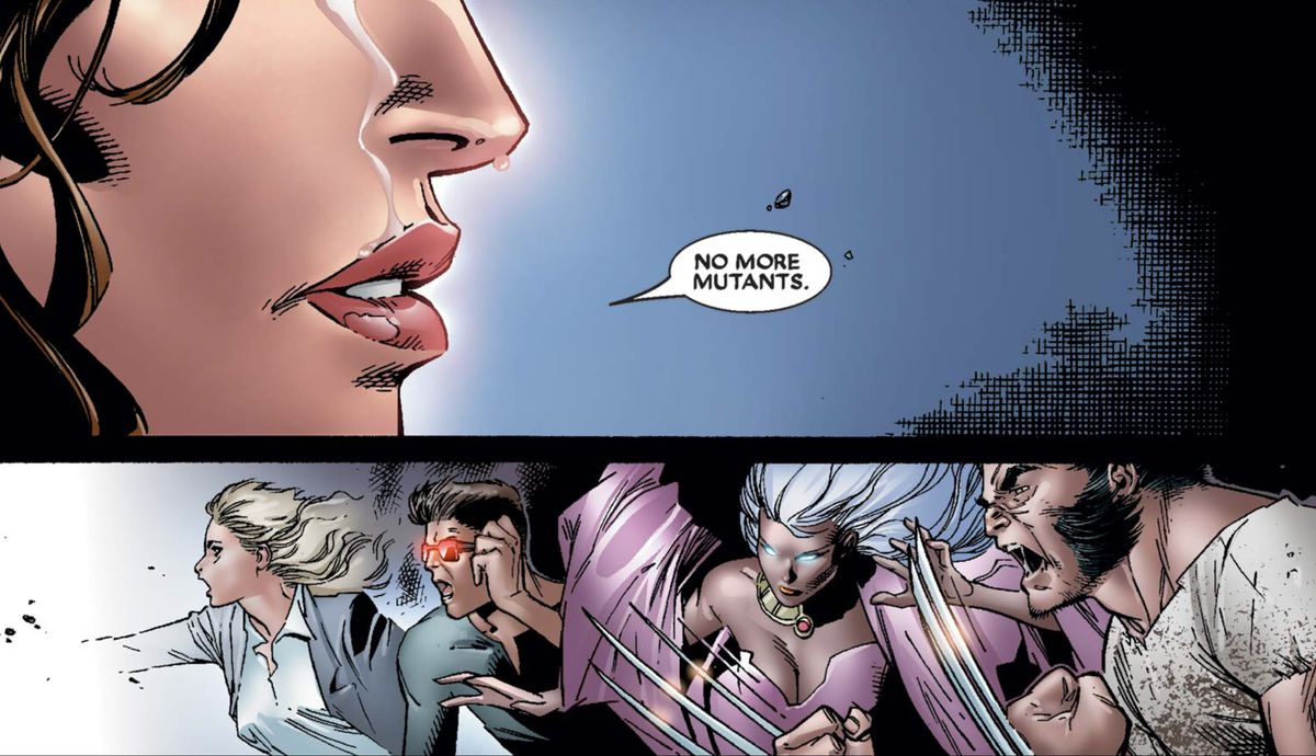 "Wanda Maximoff/Scarlet witch depowers most of the world's mutants by saying ""No more mutants,"" in House of M #7, Marvel Comics (2005)."