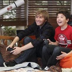 """Actors Jason Dolley and Bradley Steven Perry play brothers on """"Good Luck Charlie."""""""