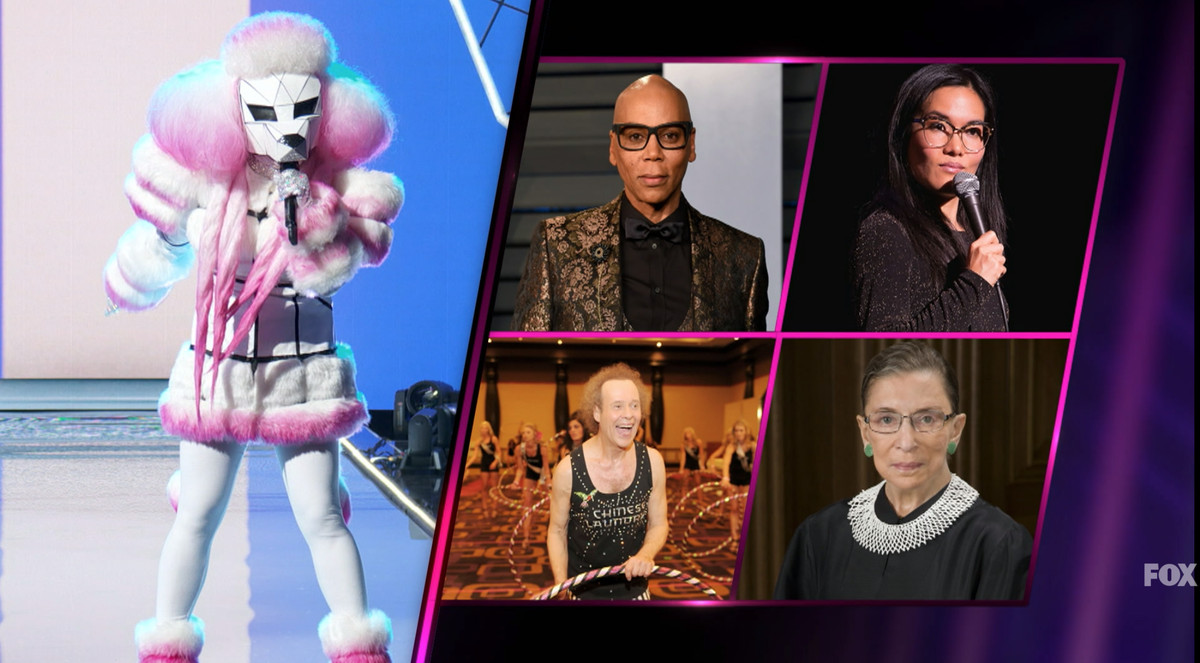 Image of the poodle-masked singer next to images of RuPaul, Ruth Bader Ginsburg, and other celebrities