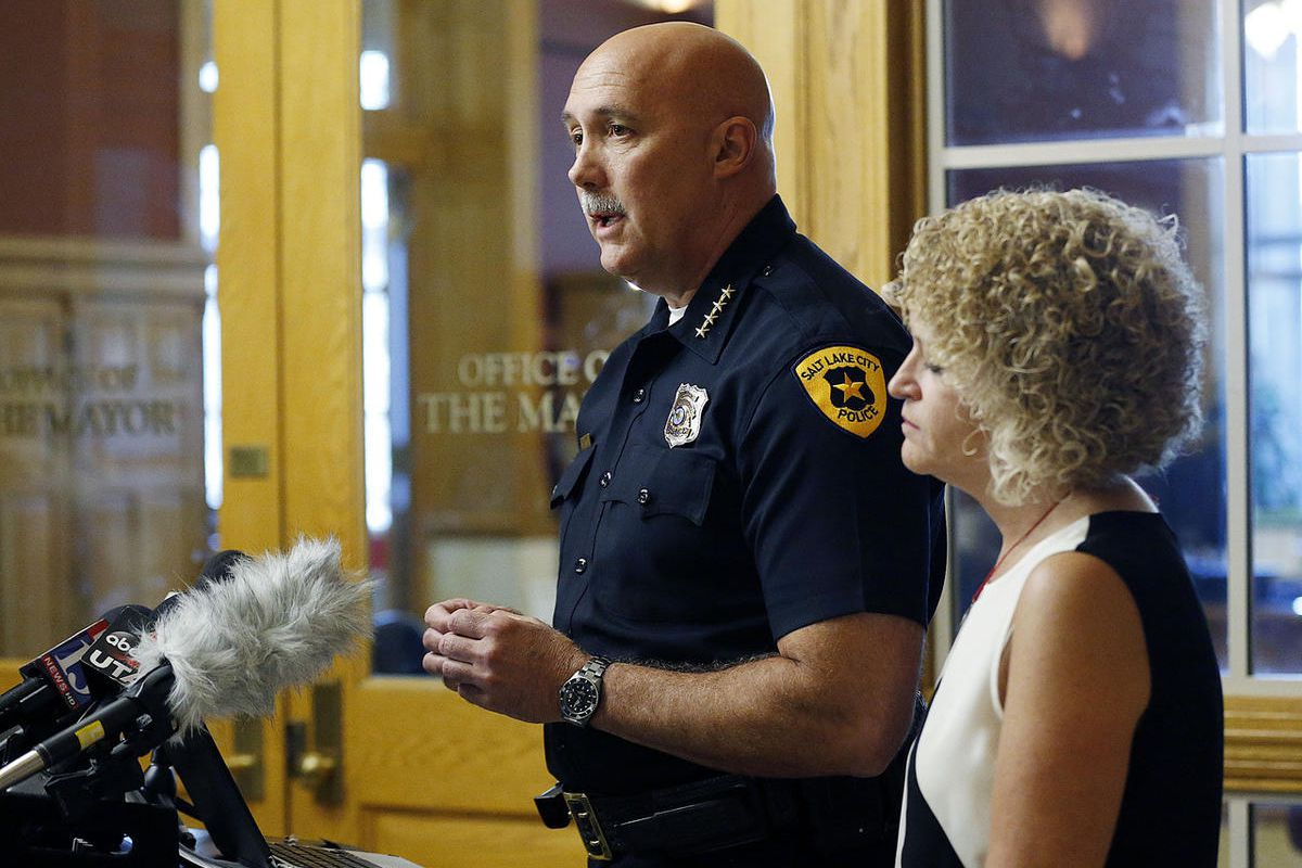 Salt Lake City Mayor Jackie Biskupski, right, listens as Police Chief Mike Brown speaks during a press conference at the City-County Building in Salt Lake City on Friday, Sept. 1, 2017, concerning a University Hospital nurse who was arrested for not allow