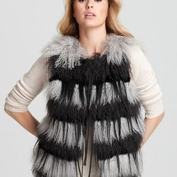 "Christian Cota for Maximilian Vest - 20"" Tibetan Lamb, Goat & Rabbit Fur PRICE: $1,295.00"