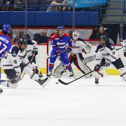 The UMass Lowell River Hawks take on the UConn Huskies in a men's college hockey game at the XL Center in Hartford, CT on November 16, 2018.