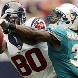 Miami Dolphins defensive back Richard Marshall (31) knocks the ball away from Houston Texans wide receiver Andre Johnson (80) in the second quarter of an NFL football game, Sunday, Sept. 9, 2012, in Houston.