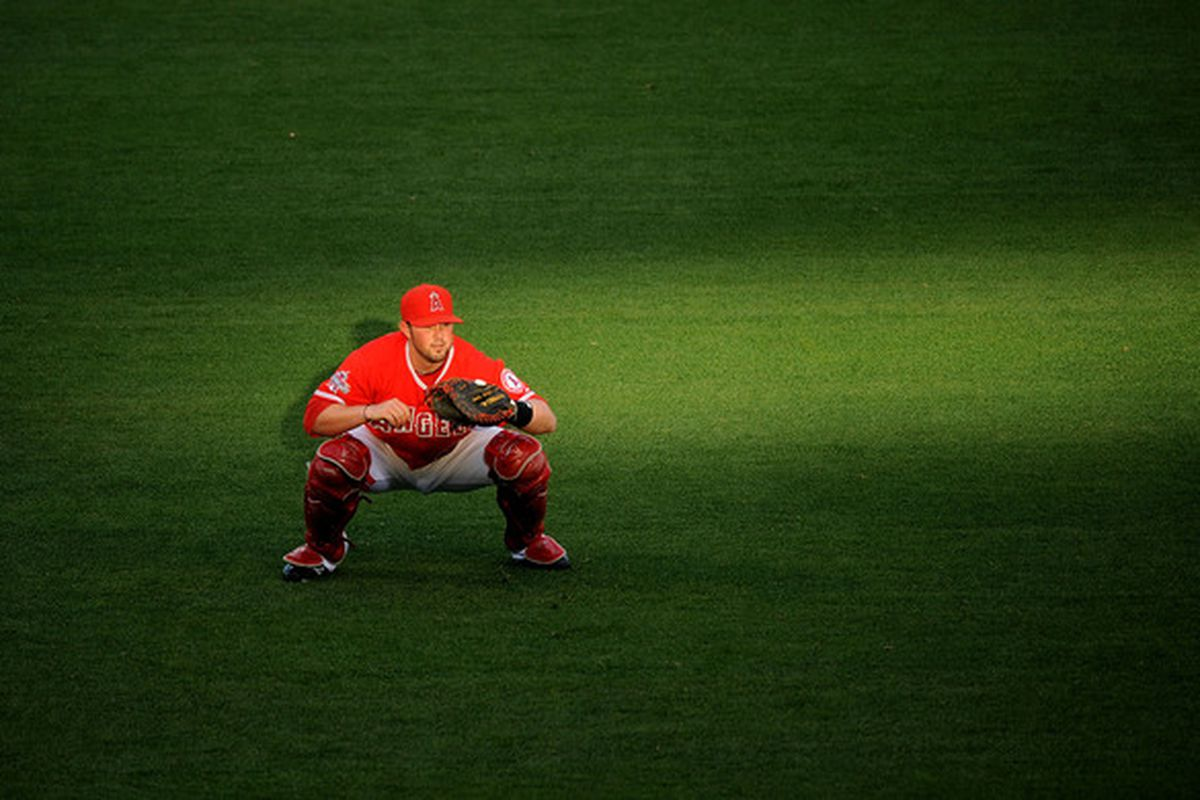 Bobby Wilson #46 of the Los Angeles Angels of Anaheim warms up before the game.