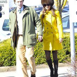 Pippa Middleton wearing the Katherine Hooker Tori coat in yellow.