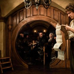 """This publicity film image released by Warner Bros., shows Martin Freeman as Bilbo Baggins in a scene from the fantasy adventure """"The Hobbit: An Unexpected Journey."""""""