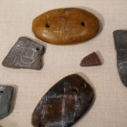 Abstract carvings from the earthworks at Poverty Point in Louisiana.