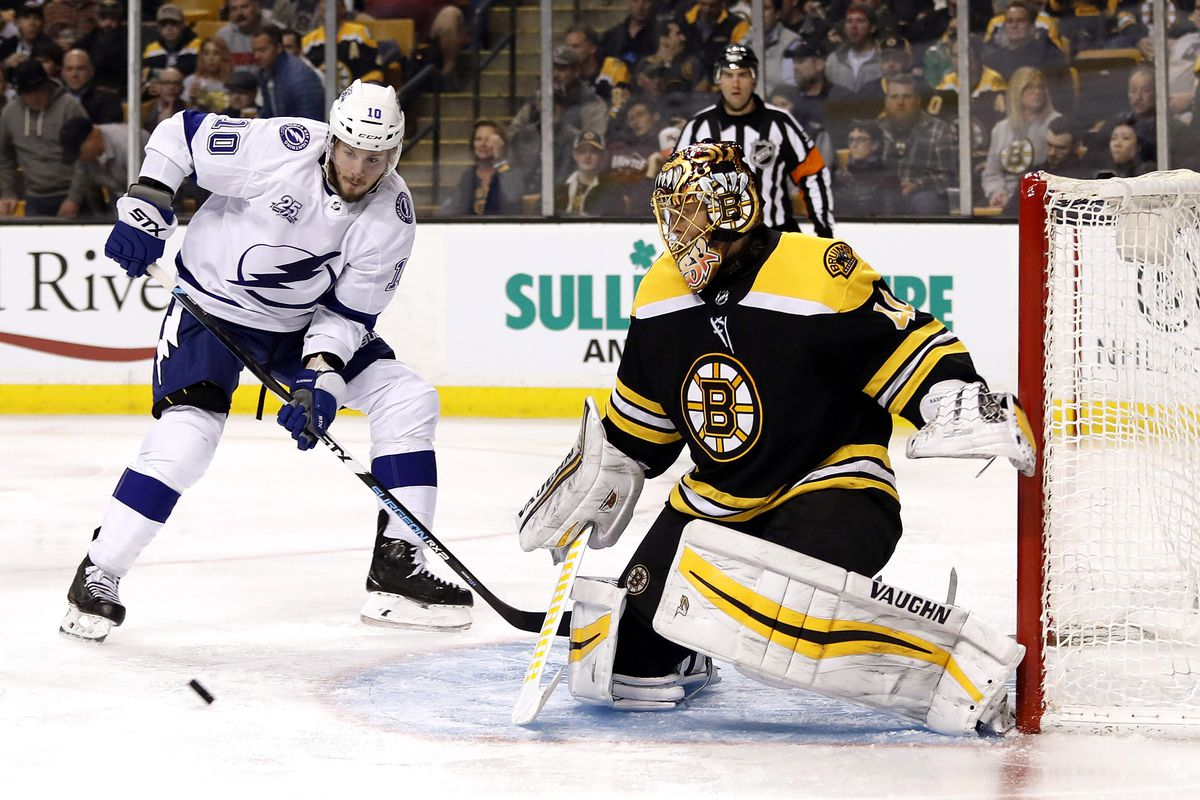 Lightning shut out Bruins 4-0; teams tied for division lead
