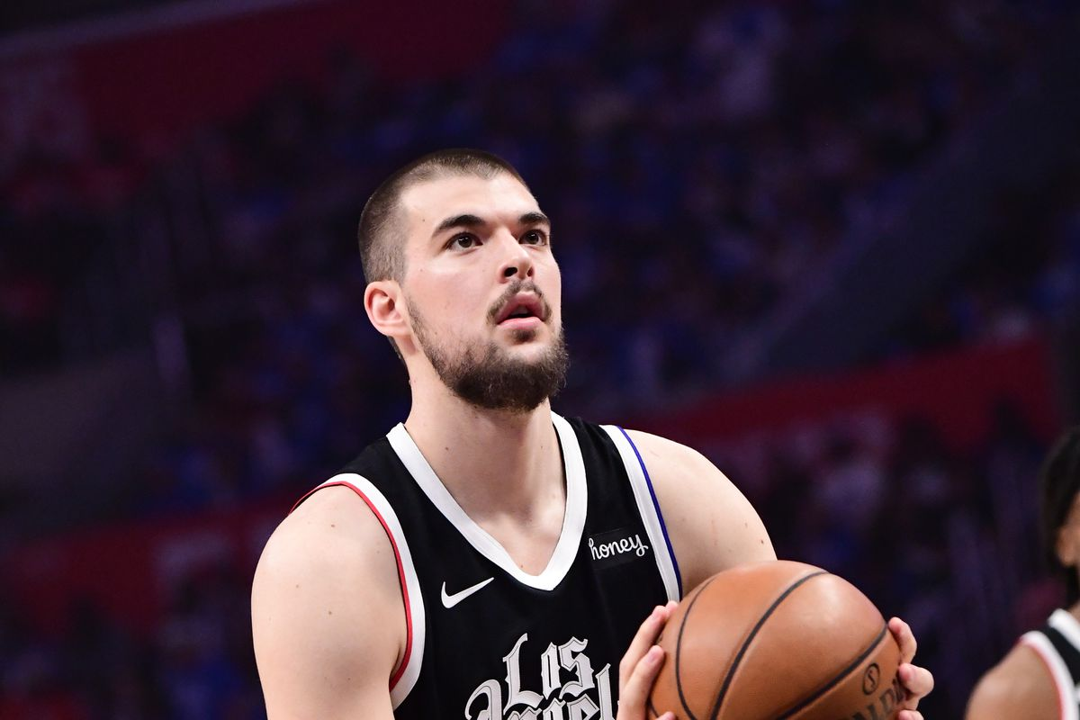 Ivica Zubac of the LA Clippers shoots a free throw during the game against the Phoenix Suns during Game 3 of the Western Conference Finals of the 2021 NBA Playoffs on June 24, 2021 at STAPLES Center in Los Angeles, California.