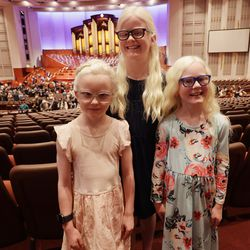 Emma, Katelyn and Miley Glover pose after attending the Sunday afternoon session of the 191st Semiannual General Conference of The Church of Jesus Christ of Latter-day Saints in the Conference Center in Salt Lake City on Sunday, Oct. 3, 2021.