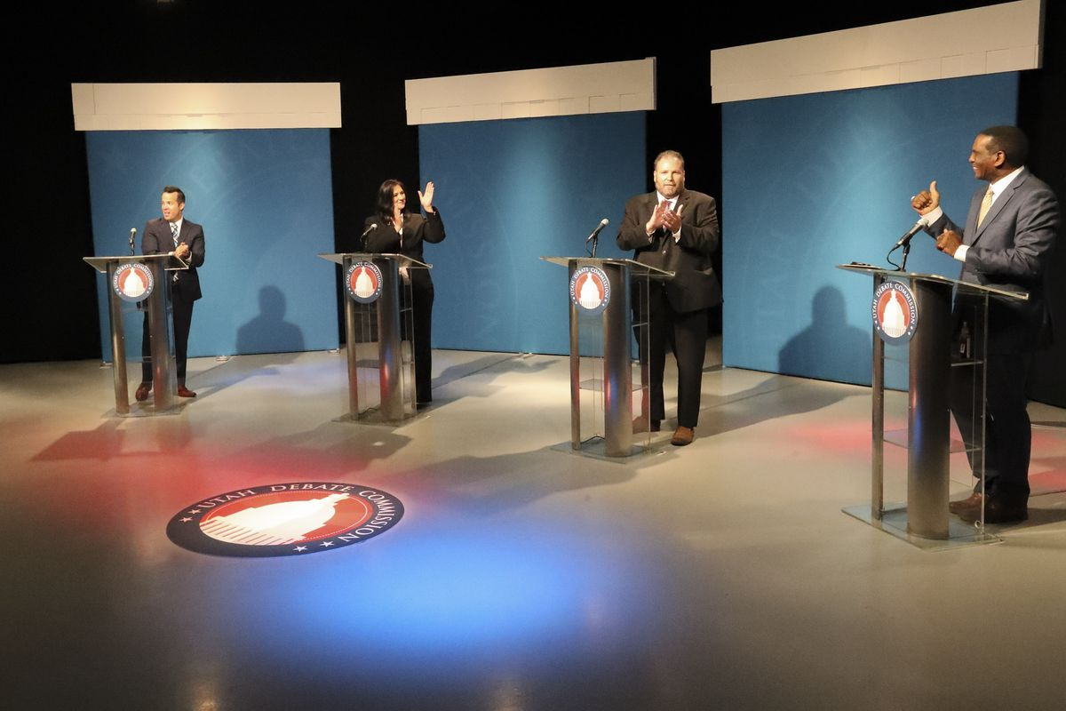 Republican candidates Trent Christensen, left, Kim Coleman, Jay Mcfarland and Burgess Owens speak during a 4th Congressional District debate at the KUED studios on the University of Utah campus in Salt Lake City on Monday, June 1, 2020.