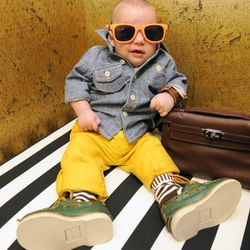 Frye sully boat shoes in green, $72 at The Red Balloon; sunglasses, stylist's own